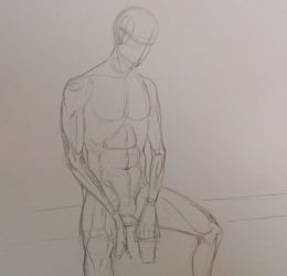 Croquis homme assis anatomie
